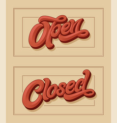 lettering open closed for design vector image