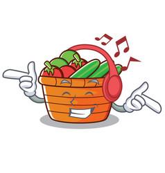 Listening music fruit basket character cartoon vector