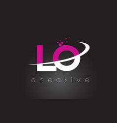 Lo l o creative letters design with white pink vector