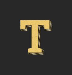 logo letter t gold vintage vector image