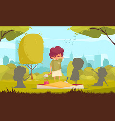 lonely boy background vector image