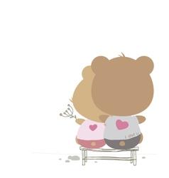 Love concept of couple teddy bear doll vector image