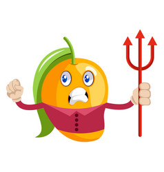 mango with devil spear on white background vector image