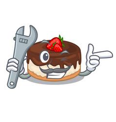 Mechanic cake berries with cream on mascot vector