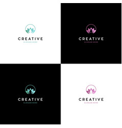 Meditation yoga lotus creative logo design vector