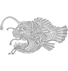 ocean monster angler fish vector image