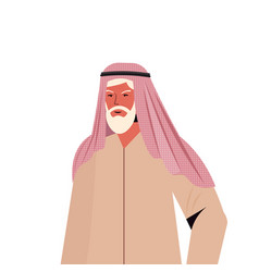 Old arab man in traditional clothes senior arabic vector
