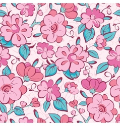 pink blue kimono flowers seamless pattern vector image