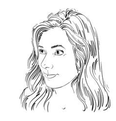 Portrait attractive caucasian woman with long vector