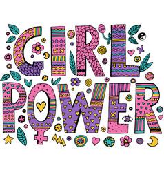 Psychedelic hippie girl power lettering vector
