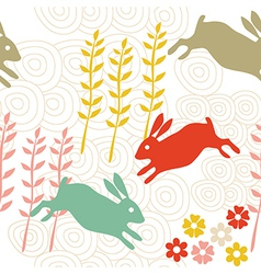rabbit seamless texture endless vector image