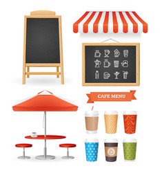 Realistic detailed 3d caffee restaurant icon set vector