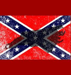 Rebel civil war flag with north carolina map vector