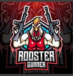 rooster gunner mascot logo design vector image