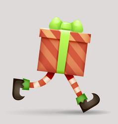 running gift box christmas elf legs santa claus vector image
