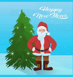 santa claus near fir tree happy new year merry vector image