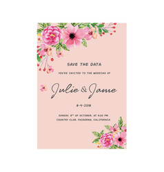 Save the date pink floral pink background i vector