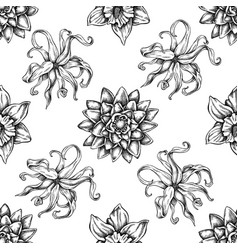 seamless pattern with black and white ylang-ylang vector image