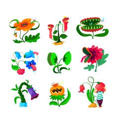 Set monster plants icons dangerous tropical vector