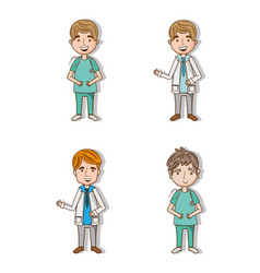 Set professionals doctors with stethoscope and vector