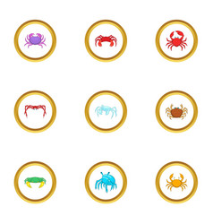 shellfish icons set cartoon style vector image