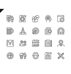 simple set engineering line icons vector image
