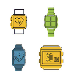 Smartwatch icon set color outline style vector