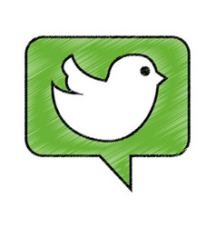 speech bubble with social bird isolated icon vector image