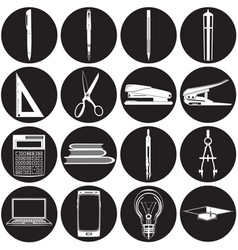 stationery icon set office and school vector image