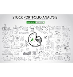 Stock Portfolio Analysis Concept with Doodle vector image