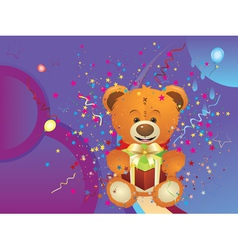 Teddy Bear with Gift Box4 vector image