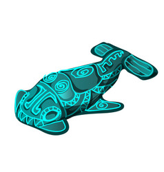 The artifact in the shape of a fish with glowing vector