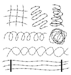 twisted barbed wire elements set in different vector image