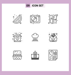 User interface pack 9 basic outlines hat vector