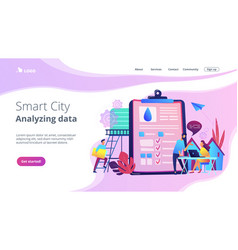 Water management smart cityconcept landing page vector