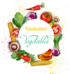 watercolor vegetables wreath delicious vector image