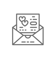Wedding invitation love card envelope line icon vector