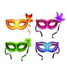 Colorful carnival masks set vector image vector image