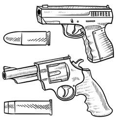 doodle guns vector image vector image