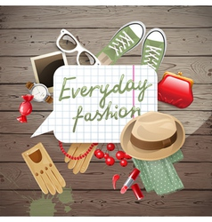 wooden background with fashion elements vector image vector image