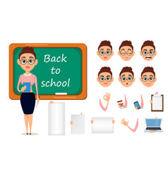back to school cute teacher with pointer and vector image