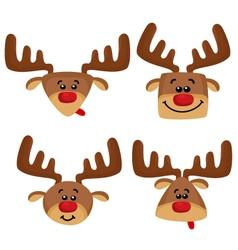 Cartoon set with heads of deers vector image