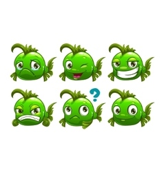 Funny cartoon green fish vector image