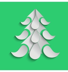 Green christmas background with paper Christmas vector image vector image