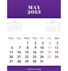 May 2013 calendar design vector image vector image