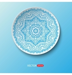Realistic plate with floral round ornament lace vector image