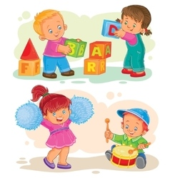 Set of icons little children playing with vector image vector image