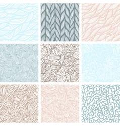 Set of nine seamless patterns vector image