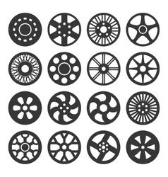 Wheel Disks or Rims Icon Set vector image