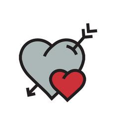 cartoon heart arrow icon red color vector image